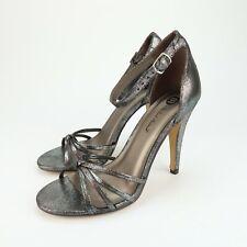 Michael Antonio Womens Resist Silver Ankle Strap High Heels Sandals Size 6.5 pl5