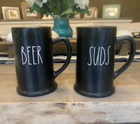 Rae Dunn 'BEER' and 'SUDS' Black Ceramic Steins Pint Size Mugs Gift Set - NWT