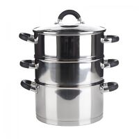 3 Tier Quality Induction Steamer Cooker Pot Set with Glass Lid Veg Food 24cm New