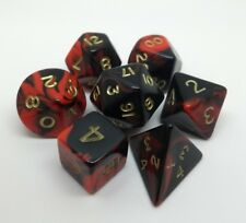Oblivion roleplay dice set. Red and black with gold numbers. Contains 7 dice.