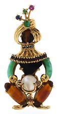 Wow 14k Yellow Gold, Moonstone, Citrine & Turquoise Maharaja Pin Circa 1950!