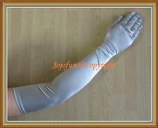 "Satin SILVER EXTRA LONG FINGERED PARTY GLOVE,21.5""L"