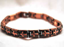 UNISEX 8 IN COPPER CROSSES HEALING MAGNETIC THERAPY LINK BRACELET: For Pain!