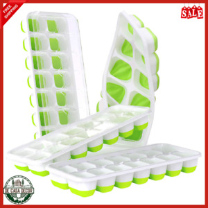 Ice Cube Trays Set 4 Pack Long Lasting Silicone Spill Resistant BPA Free Green