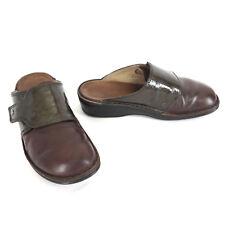 Finn Comfort Clog 7 38 Aussee Brown Leather Green Metallic Strap Wedge Mule Shoe