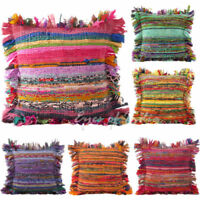 "16X16"" HANDMADE COTTON CUSHION COVER POUF RUG RAG VINTAGE INDIAN PILLOW CHINDI"
