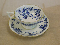 ANTIQUE COALPORT CUP AND SAUCER BLUE BIRDS FLOWERS AND LEAVES GILT TRIM