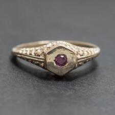 Vintage Genuine .10ctw Ruby 14k Rose Gold Sterling Filigree Ring Size 5.25