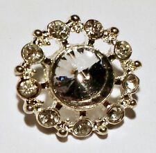 2 Round Silver Grade A Rhinestone Crystal Metal  Buttons 20mm M0366