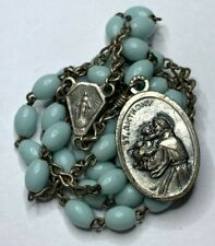 †  VINTAGE SAINT ANTHONY & FRANCIS ASSISI BLUE OVAL CHAPLET ROSARY LOST ITEMS †