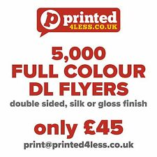 5000 1/3 A4 DL FLYERS DOUBLE SIDED PRINTED FULL COLOUR 135GSM 130 A5 A6 LEAFLET