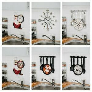 MODERN HOME CUTLERY FORK KITCHEN TABLEWARE WALL POINTER ANALOG CLOCK NUMERAL
