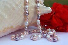 A023 55 cm Echte Süßwasser Perlen Schmuck Perlenkette Halsketten Kette Collier