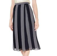 Anne Klein Womens A-Line Skirt Blue Size 6 Striped Chiffon Pleated $89 532
