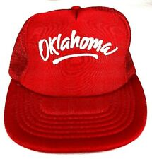 "Vintage 1980-90's""Oklahoma""Red Trucker Flat Bill Snap Back Mesh Back Cap Hat(A1)"