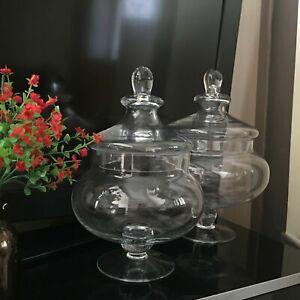 Traditional Vintage Squat Glass Bonbon Sweet Candy Jar WEDDING PARTY SWEET JAR