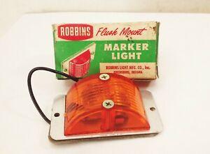 Vtg 1940s 50s Robbins flush mount marker light amber lucite lens car truck