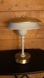 Mid Century Modern Saucer Desk Table Lamp Atomic Age Double Shade Industrial