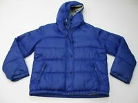 REI Womens Size M Vintage Down Fill Padded Royal Blue Hooded Parka Puffer Jacket
