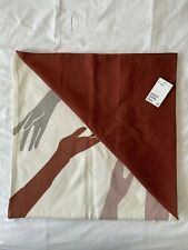H&M Square Contemporary Cushion Covers Set Hand Graphic Print Brick Red 50x50cm