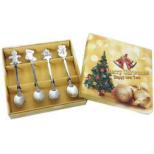 4Pcs Stainless Steel Tea Scoops Kids Spoon Tableware Christmas Coffee Spoons yu
