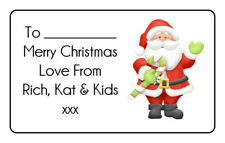 Gloss Santa Christmas Personalised Gift Tags Present Stickers Labels Xmas Wrap