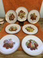 """7 Vtg.  Golden Crown E&R 1886 Germany Harvest Fruit 7 3/4"""" Salad / Dessert Plate"""