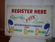 "VINTAGE COLLECTIBLE 38 X 25 X 1"" REGISTER HERE TO WIN FREE MUSIC LESSONS"