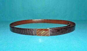 ceinture fine vintage en vrai crocodile et boucle YVES SAINT LAURENT taille 115
