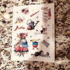 Vintage Hallmark Marjolein Bastin Sticker Sheet Vera Mouse Dressed Up Pen Pal