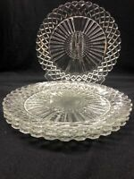 """Lot Of 4 Anchor Hocking Glass Co. WATERFORD """"Waffle"""" Clear Glass Dinner Plates"""