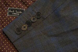 Paul Smith Gray Blue Plaid 100% Wool 2 Pc Suit Jacket Pants Sz 42R