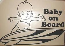 "9"" Vinyl Hawaiian Boy Baby on Board Short Surfboard Car Decal Sticker Black #1O"