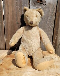 "ANTIQUE VTG 14"" ARTICULATED JOINTED MOHAIR STRAW STUFFED TEDDY BEAR"