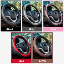 38cm/15'' Car Steering Wheel Cover 3D Leather Protective Case Durable Anti-slip