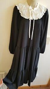 New Stunning Size L 12-14 Broiderie Bib Collar Midax Dress Gd Actuel @ ASOS Vtg