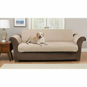 Pawslife - Reversible Plush Quilt Sofa Furniture Cover - Taupe/Brown, NEW