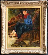 """C. 1930 francés """"Ecole DE PARIS"""" impresionista aceite Mujer-indistintamente Firmado"""
