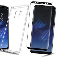 Samsung Galaxy S9 Silikon Schutzhülle + 5D Panzerglas Echt Glas Schwarz