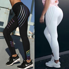 Women Yoga  Sports Fitness Leggings Reflective Run Jogging Pants Trouser Black M