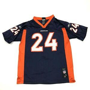 VINTAGE Reebok Champ Bailey Denver Broncos Football Jersey Youth Size L 14 -16