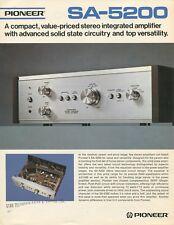 Pioneer SA-5200 Original Amplifier Tech Sheet Brochure 1973