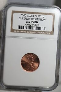 2000 CLOSE AM 1C CHEERIOS PROMOTION  LINCOLN CENT NGC MS65 RD