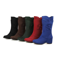 Women Hidden Wedge Heel Mid Calf Boots Floral Pull On Sweet Suede Casual Shoes D