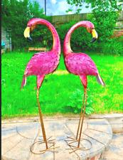Fabriqué à la MAIN HAND PAINT tour cou flamant rose décoratif Jardin Pelouse Métal Decor