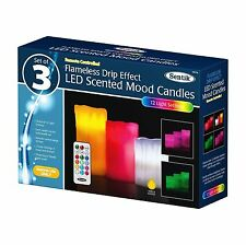 Drip Effect 3 Pack Remote Control LED Flameless Colour Changing Wax Mood Candles