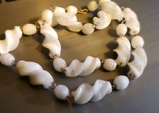 Vintage Striped White Spiral Glass Beaded Necklace