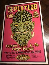 """1996 artist ALAN FORBES Silkscreen Concert POSTER Bands """"SEPULTURA & Far"""" MN"""
