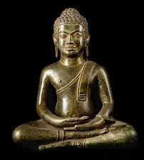"Antique 19th Century Southeast Asia Thai Meditation Buddha Statue - 34cm/14"""