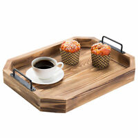 MyGift 16 Inch Rustic Burnt Wood Serving Tray with Decorative Metal Handles